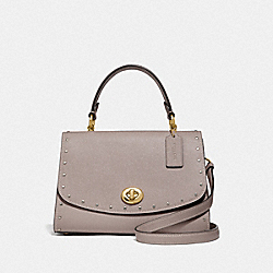 COACH F76617 - TILLY TOP HANDLE SATCHEL WITH RIVETS GREY BIRCH/GOLD