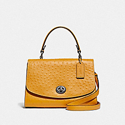 COACH F76619 - TILLY TOP HANDLE SATCHEL MUSTARD YELLOW/BLACK ANTIQUE NICKEL