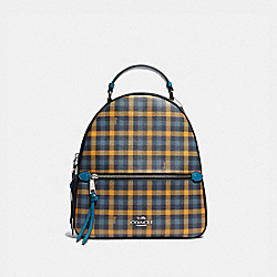 JORDYN BACKPACK WITH GINGHAM PRINT - F76625 - NAVY YELLOW MULTI/SILVER