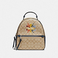 JORDYN BACKPACK IN SIGNATURE CANVAS WITH COACH RADIAL RAINBOW - F76626 - LIGHT KHAKI/DENIM MULTI/SILVER