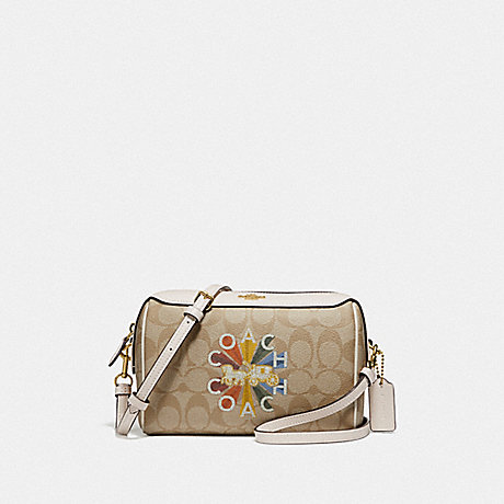 COACH F76628 BENNETT CROSSBODY IN SIGNATURE CANVAS WITH COACH RADIAL RAINBOW LIGHT KHAKI/CHALK MULTI/GOLD