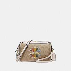 COACH F76628 - BENNETT CROSSBODY IN SIGNATURE CANVAS WITH COACH RADIAL RAINBOW LIGHT KHAKI/CHALK MULTI/GOLD