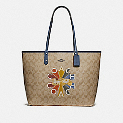 REVERSIBLE CITY TOTE IN SIGNATURE CANVAS WITH COACH RADIAL RAINBOW - F76632 - LIGHT KHAKI MUTLI/DENIM/SILVER