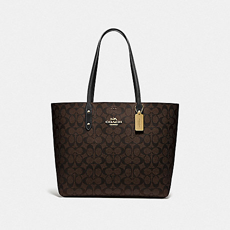 COACH F76636 TOWN TOTE IN SIGNATURE CANVAS BROWN/BLACK/IMITATION GOLD