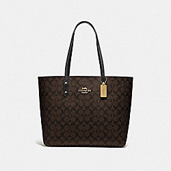 TOWN TOTE IN SIGNATURE CANVAS - F76636 - BROWN/BLACK/IMITATION GOLD