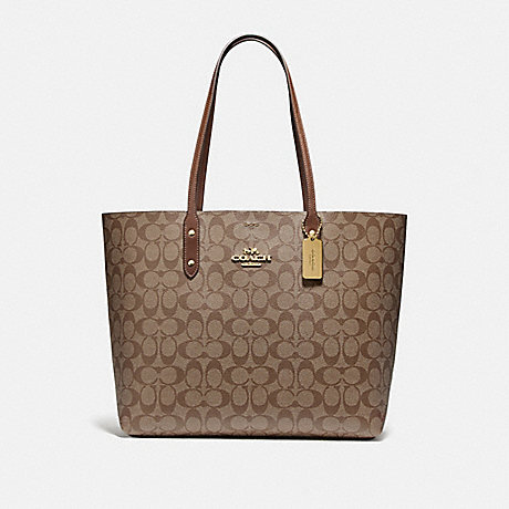 COACH F76636 TOWN TOTE IN SIGNATURE CANVAS KHAKI/SADDLE 2/IMITATION GOLD