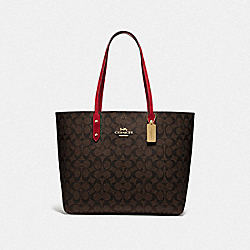 COACH F76636 Town Tote In Signature Canvas BROWN/TRUE RED/IMITATION GOLD