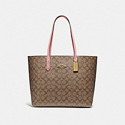 COACH F76636 - TOWN TOTE IN SIGNATURE CANVAS IM/KHAKI PINK PETAL