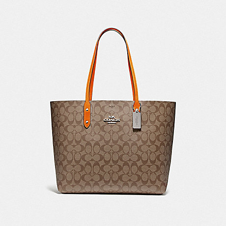 COACH F76636 TOWN TOTE IN SIGNATURE CANVAS KHAKI/DARK ORANGE/SILVER