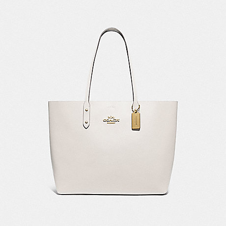 COACH F76637 TOWN TOTE WITH SIGNATURE CANVAS INTERIOR CHALK/KHAKI/GOLD
