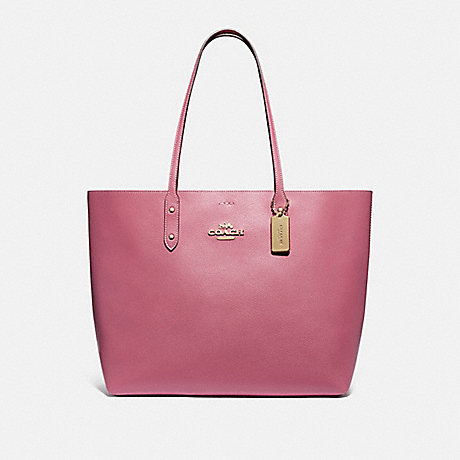 COACH F76637 TOWN TOTE WITH SIGNATURE CANVAS INTERIOR ROUGE/LIGHT KHAKI/GOLD