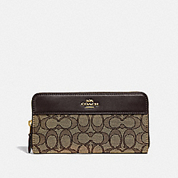 ACCORDION ZIP WALLET IN SIGNATURE JACQUARD WITH STRIPE - F76638 - IM/KHAKI/BROWN