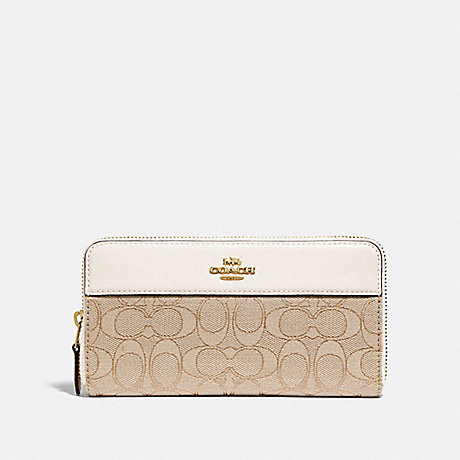 COACH F76638 ACCORDION ZIP WALLET IN SIGNATURE JACQUARD WITH STRIPE IM/LIGHT KHAKI/CHALK