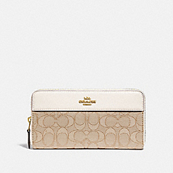 ACCORDION ZIP WALLET IN SIGNATURE JACQUARD WITH STRIPE - F76638 - IM/LIGHT KHAKI/CHALK