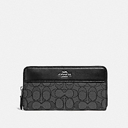 ACCORDION ZIP WALLET IN SIGNATURE JACQUARD WITH STRIPE - F76638 - SV/BLACK SMOKE/BLACK