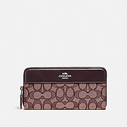 ACCORDION ZIP WALLET IN SIGNATURE JACQUARD WITH STRIPE - F76638 - SV/RASPBERRY