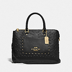 EMMA SATCHEL IN SIGNATURE LEATHER - F76639 - BLACK/GOLD