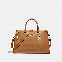 MIA SATCHEL - F76640 - LIGHT SADDLE/GOLD
