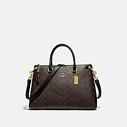 MIA SATCHEL IN SIGNATURE CANVAS - F76643 - BROWN/BLACK/GOLD