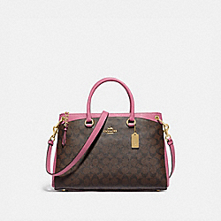 COACH F76643 Mia Satchel In Signature Canvas IM/BROWN PINK ROSE