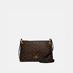 MIA CROSSBODY IN SIGNATURE CANVAS - F76646 - BROWN/BLACK/GOLD