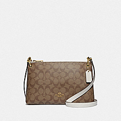 COACH F76646 Mia Crossbody In Signature Canvas KHAKI/CHALK/GOLD