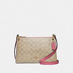MIA CROSSBODY IN SIGNATURE CANVAS - F76646 - LIGHT KHAKI/ROUGE/GOLD