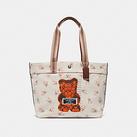 COACH F76650 TOTE WITH VANDAL GUMMY CHALK MULTI/BLACK ANTIQUE NICKEL