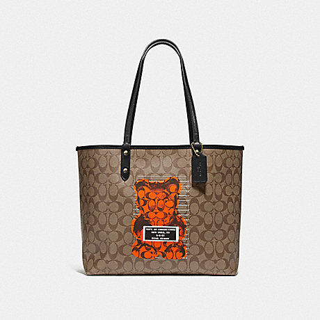 COACH F76651 REVERSIBLE CITY TOTE IN SIGNATURE CANVAS WITH VANDAL GUMMY KHAKI MULTI/BLACK/GOLD