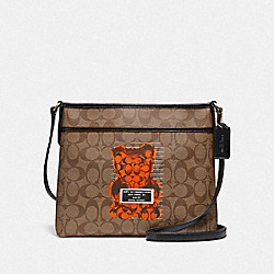 COACH F76652 File Crossbody In Signature Canvas With Vandal Gummy KHAKI MULTI /GOLD