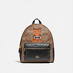 MEDIUM CHARLIE BACKPACK IN SIGNATURE CANVAS WITH VANDAL GUMMY - F76657 - KHAKI MULTI /GOLD
