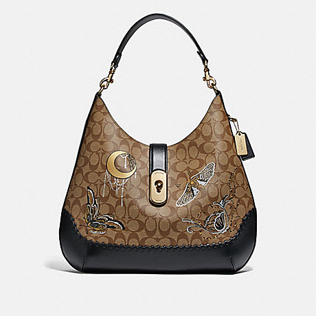 COACH F76660 LARGE AMBER HOBO IN SIGNATURE CANVAS WITH CHELSEA ANIMATION AND WHIPSTITCH KHAKI/BLACK MULTI/IMITATION GOLD