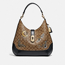COACH F76660 - LARGE AMBER HOBO IN SIGNATURE CANVAS WITH CHELSEA ANIMATION AND WHIPSTITCH KHAKI/BLACK MULTI/IMITATION GOLD