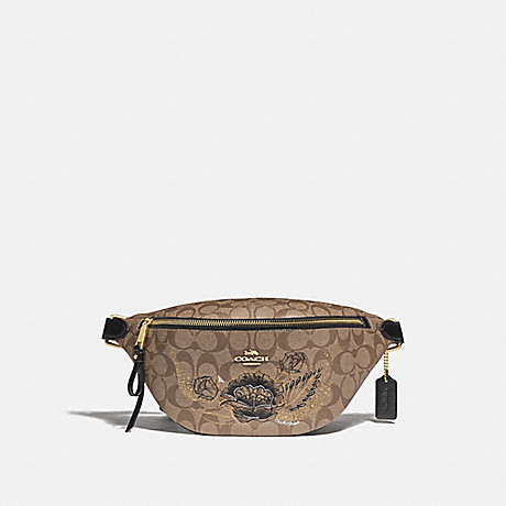 COACH F76663 BELT BAG IN SIGNATURE CANVAS WITH CHELSEA ANIMATION KHAKI/BLACK MULTI/IMITATION GOLD
