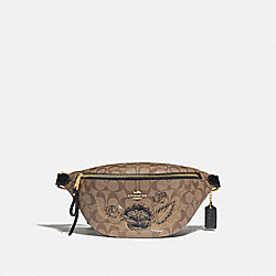 BELT BAG IN SIGNATURE CANVAS WITH CHELSEA ANIMATION - F76663 - KHAKI/BLACK MULTI/IMITATION GOLD