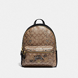 MEDIUM CHARLIE BACKPACK IN SIGNATURE CANVAS WITH CHELSEA ANIMATION - F76667 - KHAKI/BLACK MULTI/IMITATION GOLD