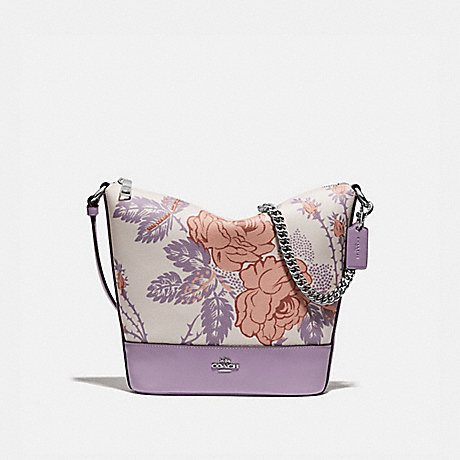 COACH F76670 SMALL PAXTON DUFFLE WITH THORN ROSES PRINT CHALK PURPLE MULTI/SILVER