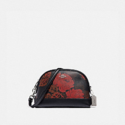 COACH F76676 Dome Crossbody With Thorn Roses Print BLACK RED MULTI/SILVER