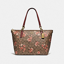 AVA TOTE IN SIGNATURE CANVAS WITH PRAIRIE DAISY CLUSTER PRINT - F76677 - KHAKI CORAL MULTI/IMITATION GOLD