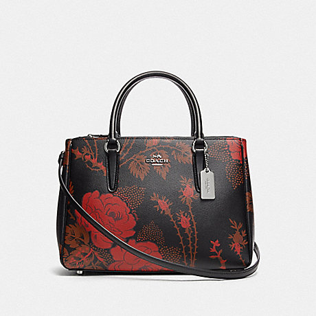 COACH F76681 SURREY CARRYALL WITH THORN ROSES PRINT BLACK RED MULTI/SILVER