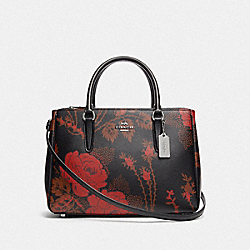 COACH F76681 - SURREY CARRYALL WITH THORN ROSES PRINT BLACK RED MULTI/SILVER
