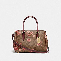 COACH F76682 Mini Surrey Carryall In Signature Canvas With Prairie Daisy Cluster Print KHAKI CORAL MULTI/IMITATION GOLD