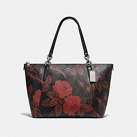 COACH F76683 AVA TOTE WITH THORN ROSES PRINT BLACK RED MULTI/SILVER