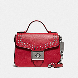 CASSIDY TOP HANDLE CROSSBODY WITH RIVETS - F76689SVP4Z - SV/BRIGHT CARDINAL