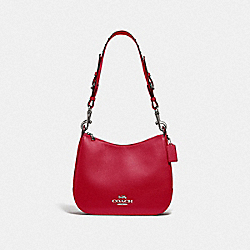 COACH F76696 - JES HOBO WITH RIVETS BRIGHT CARDINAL/SILVER