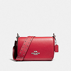 COACH F76700 - SMALL JES MESSENGER WITH RIVETS BRIGHT CARDINAL/SILVER