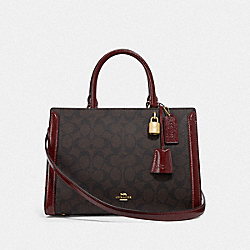 COACH F76703 - ZOE CARRYALL IN SIGNATURE CANVAS IM/BROWN/WINE