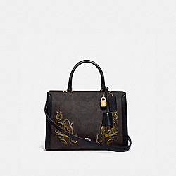 COACH F76704 - ZOE CARRYALL IN SIGNATURE CANVAS WITH TULIP PRINT EMBROIDERY IM/BROWN BLACK MULTI