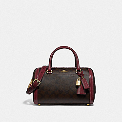 ZOE BARREL SATCHEL IN SIGNATURE CANVAS - F76706 - IM/BROWN/WINE