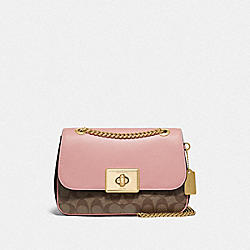 COACH F76707 - CASSIDY CROSSBODY IN BLOCKED SIGNATURE CANVAS IM/KHAKI PINK PETAL